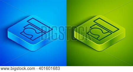 Isometric Line Productive Human Icon Isolated On Blue And Green Background. Idea Work, Success, Prod