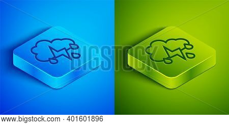 Isometric Line Cloud With Rain And Lightning Icon Isolated On Blue And Green Background. Rain Cloud