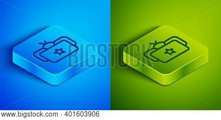 Isometric Line Ushanka Icon Isolated On Blue And Green Background. Russian Fur Winter Hat Ushanka Wi