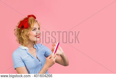 Nail File. Manicure. Pin Up Woman With Nail File. Nail Care. Pin Up Woman.