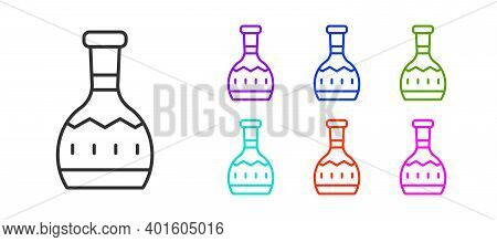 Black Line Tequila Bottle Icon Isolated On White Background. Mexican Alcohol Drink. Set Icons Colorf