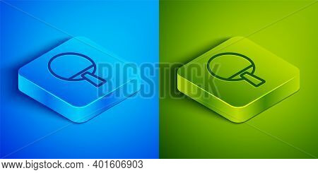 Isometric Line Racket For Playing Table Tennis Icon Isolated On Blue And Green Background. Square Bu