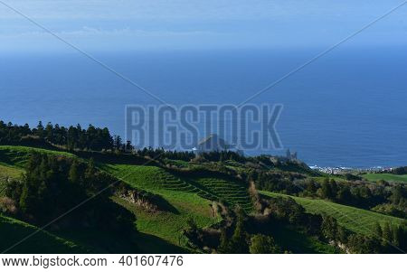 Beautiful View Of Terraced Grass Fields In The Azores.