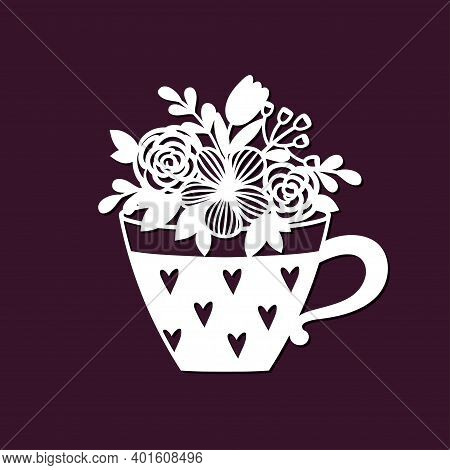Openwork Bouquet Of Wildflowers In A Cup. Template For Laser Cutting Or Plotter.