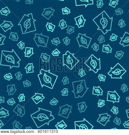 Green Line Eco Friendly House Icon Isolated Seamless Pattern On Blue Background. Eco House With Leaf