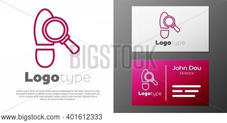 Logotype Line Magnifying Glass With Footsteps Icon Isolated On White Background. Detective Is Invest
