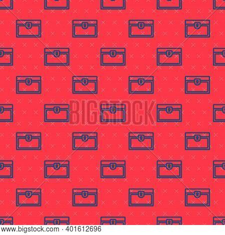 Blue Line Antique Treasure Chest Icon Isolated Seamless Pattern On Red Background. Vintage Wooden Ch