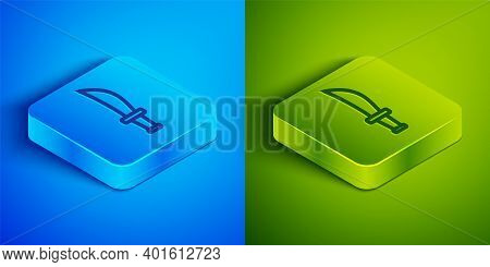Isometric Line Pirate Sword Icon Isolated On Blue And Green Background. Sabre Sign. Square Button. V