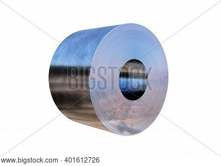 Steel Sheet Roll Isolated On White Background. 3d Rendering