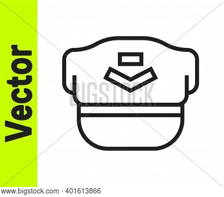 Black Line Pilot Hat Icon Isolated On White Background. Vector