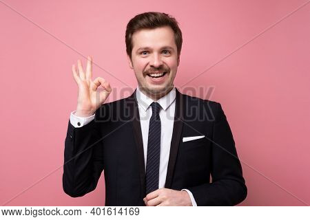 Handsome Business Man With Beard Wearing Business Suit And Tie Smiling Positive Doing Ok