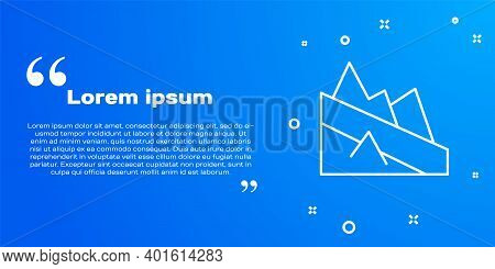 White Line Mountain Descent Icon Isolated On Blue Background. Symbol Of Victory Or Success Concept.