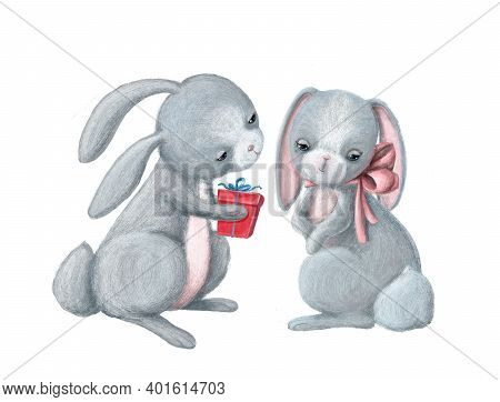 Cute Rabbit Give A Giftbox To His Girlfriend, Hand Drawn Illustration With Cartoon Character, Valent