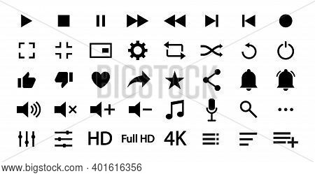 Player, Media And Music Icons .set Of Isolated Signs And Buttons Of Audio And Multimedia. Web Design