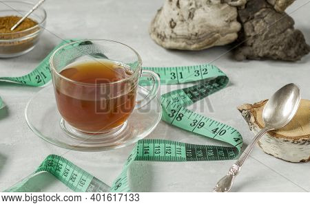 Chaga Birch Mushroom Is A Trendy Superfood For Diet And Immunity. Natural Tea, Coffee And Pieces Of