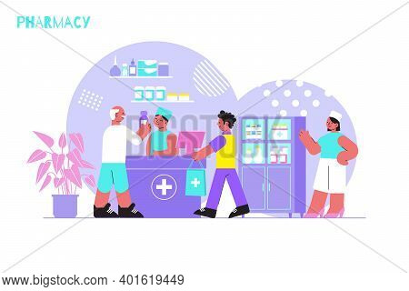 Pharmacy Flat Background With Pharmaceuticals And Customer In Drugstore Interior Vector Illustration