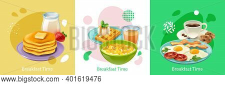 Realistic Design Concept With Three Kinds Of Tasty Cooked Breakfast Isolated Vector Illustration