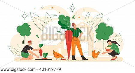Farmer Family Flat Composition With Harvesting Father Holding Huge Carrot Mother Feeding Chicks Daug