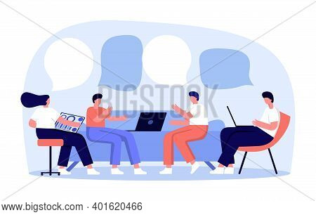 Vector Illustration, Workers Are Sitting On The Couch, Vector Collective Thinking And Brainstorming.
