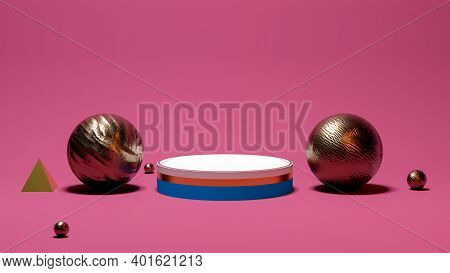 Shiny Round Pedestal Podium. Abstract 3d Concept Illuminated Pedestal By Spotlights. Perfect Image F
