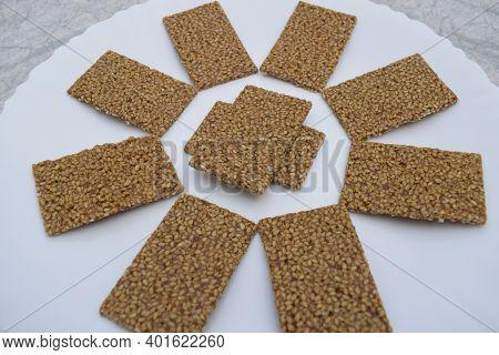 Til Sakri Or Tilgul An Indian Traditional Popular Sweet Made Out Of Sesame Seeds And Jaggery Melted