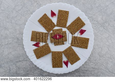 Til Sakri Or Tilgul An Indian Traditional Popular Sweet Made Out Of Sesame Seeds And Jaggery. Famous