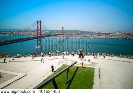 Portugal, Lisbon, August 23, 2018: Aerial View Of The Observation Deck And Bridge On April 25. There