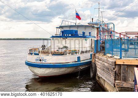 Samara, Russia - May 11, 2019: Pleasure Motor Ship Moors To The Pier On The Banks Of The Volga River