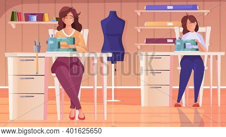 Tailoring Workshop Flat Background With Seamstress Female Characters Working At Sewing Machine Vecto