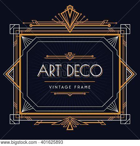 Art Deco Exquisite Vintage Golden Bronze White Frame Geometric Design With Sunrise Motifs Black Back