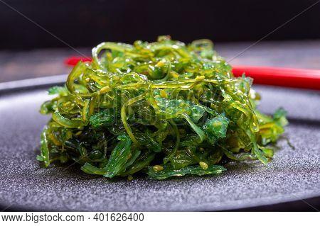 Tasty Vegetarian Sea Food From Japan, Green Seaweed Wakame Salad