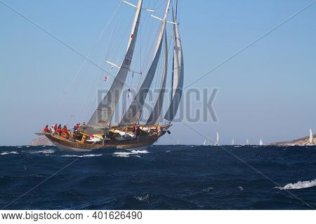 Bodrum, Turkey, 18 October 2016: Bodrum Sailing Cup, Gulet Wooden Sailboats And Sailing Yachts Racin
