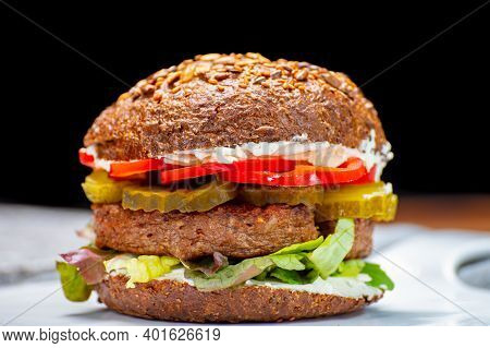Grilled Plant Based, Meat Free Vega Burgers Close Up