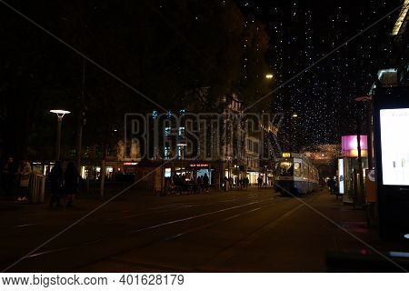 View To Train Main Station Of Zurich And Bahnhofstrasse At Christmastime In Time Of Corona Virus. Ha