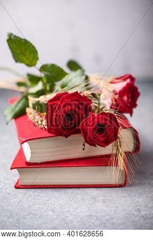 Rose And Book, Traditional Gift For Sant Jordi, The Saint Georges Day. It Is Catalunya's Version Of
