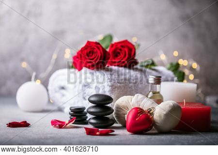 Wellness Decoration, Spa Massage Setting,  Oil On Stone Background. Valentine's Day Zen And Relax Co