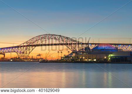 Corpus Christi, Texas, USA at Corpus Christi Harbor Bridge at dusk.