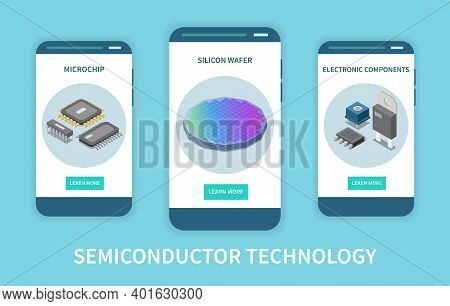 Semiconductor Chip Production Vertical Set Of Isometric Banners With Circuits Silicon Wafer And Elec