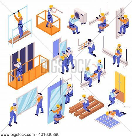 Structural Ironworker Icons Set With Work And Equipment Symbols Isometric Isolated Vector Illustrati