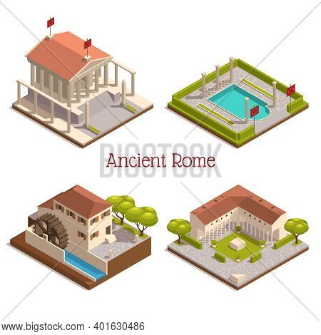 Ancient Rome Tourists Attractions Landmarks 4 Isometric Compositions With Wooden Watermill Pantheon
