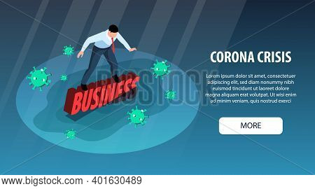 Isometric World Financial Crisis Horizontal Banner With Drowning Businessman Flying Virus Bacteria M