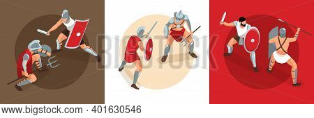 Isometric Ancient Rome Gladiators Design Concept With Square Compositions Of Duel Battles With Fight