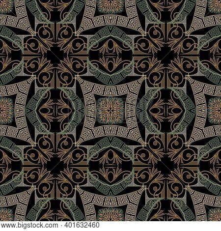 Greek Floral Seamless Pattern. Colorful Vector Arabesque Background. Abstract Greek Key, Meander Orn