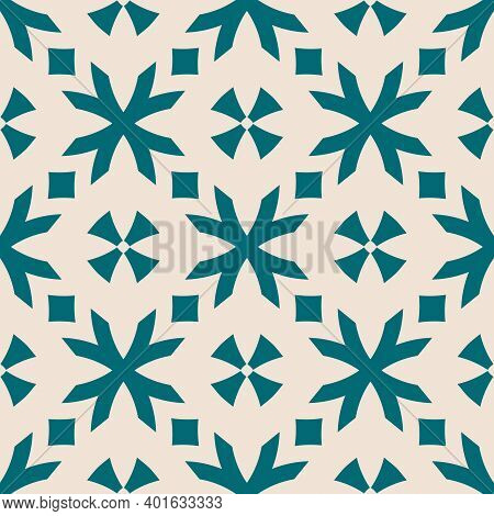 Vector Geometric Floral Pattern. Seamless Texture In Ethnic Style. Abstract Ornament With Flower Sha