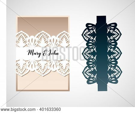 An Openwork Card With A Pattern In The Style Of Richelieu Embroidery. Laser Cut Template For Wedding