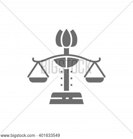 Female Libra, Gender Equality, Lady Justice Grey Icon.