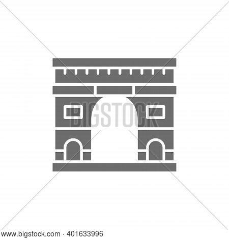 Triumphal Arch, Landmark Of Paris, France Grey Icon.