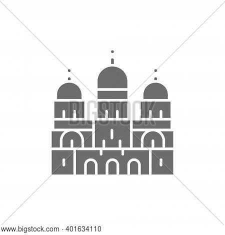 Basilica Of The Sacred Heart, Landmark Of Paris, France Grey Icon.