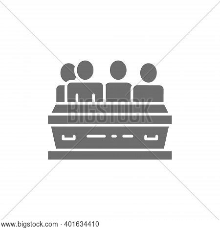 People Near The Tomb, Funeral Ceremony, Cemetery Gray Icon.