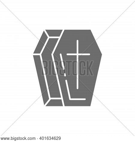 Coffin, Tomb Gray Icon. Isolated On White Background